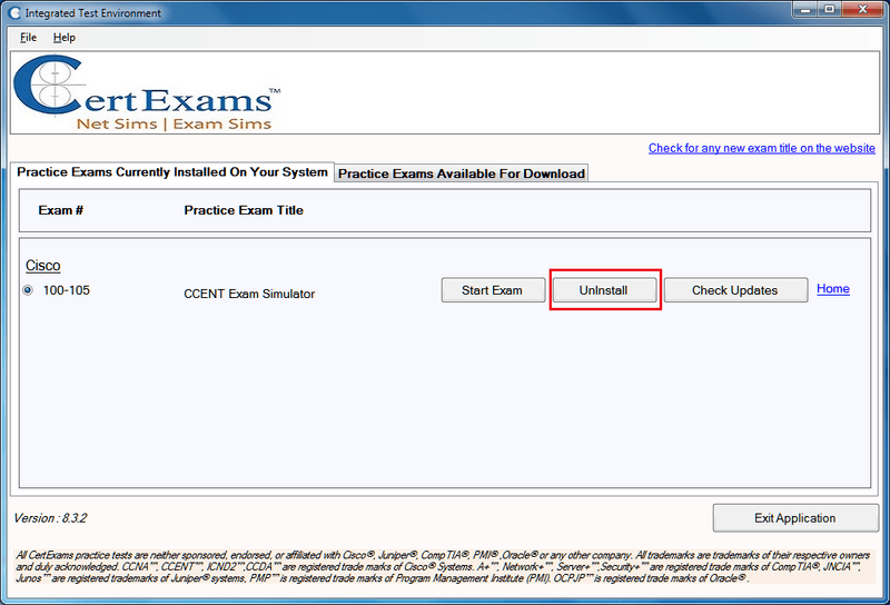 Certexams Exam sims Uninstall Procedure step 1