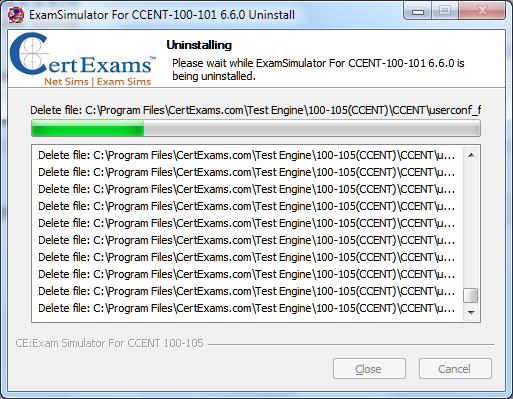 Certexams Exam sims Uninstall Procedure step 4